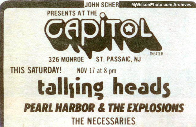 Mj Wilson Photo Archives - Ad for The Necessaries & Talking Heads Concert at the Capitol Theatre
