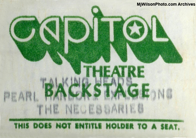 Mj Wilson Photo Archives - Backstage Pass for The Necessaries & Talking Heads Concert at the Capitol Theatre