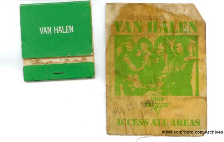 Van Halen Backstage Pass and Matchbook - Photo by Mj Wilson Photography