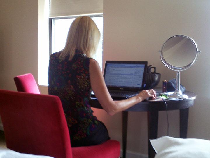 Kelly editing Mj's Blog Posts