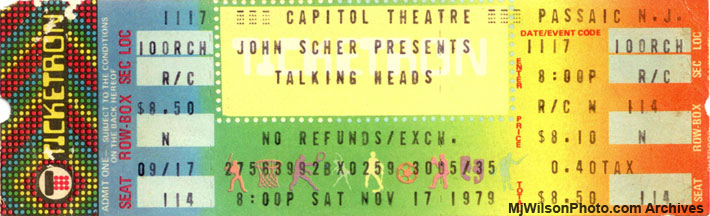 Talking Heads 1979 Concert Ticket