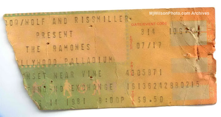 The Ramones - 1981 Concert Ticket for the Hollywood Palladium