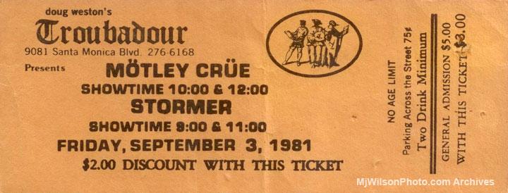 Motley Crue Concert at the Troubadour
