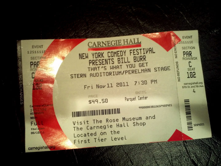 New York Comedy Festival Tickets for Bill Burr at Carnegie Hall