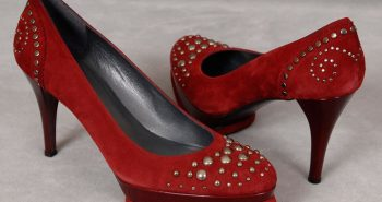 Stuart Weitzman Studded Red Suede Pumps