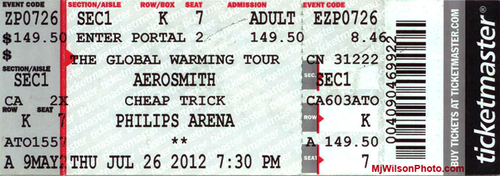 Aerosmith Concert Ticket - The Global Warming Tour - Atlanta, GA - July 26, 2012