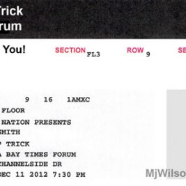 Aerosmith Concert Ticket for Tampa Florida
