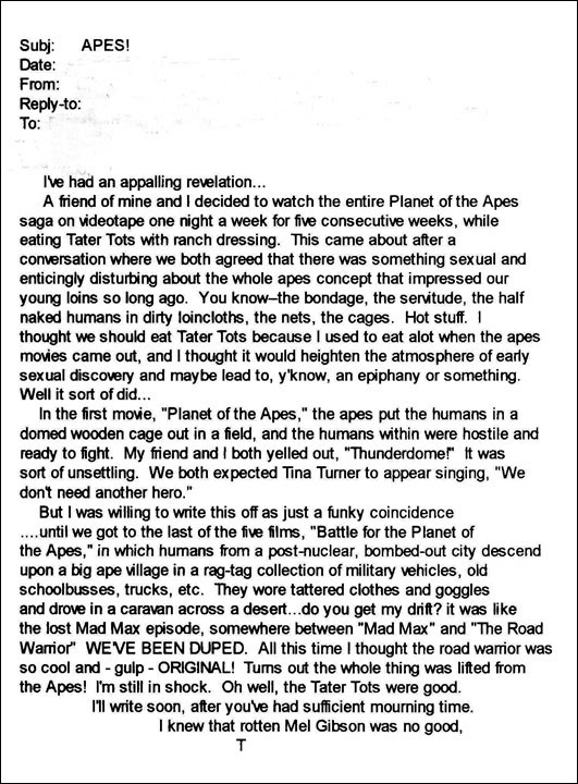 Road Warrior vs Planet of the Apes email from Todd Ballmer
