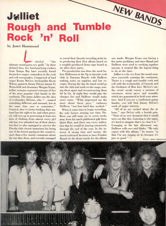 Article on Julliet - Rock Scene Magazine
