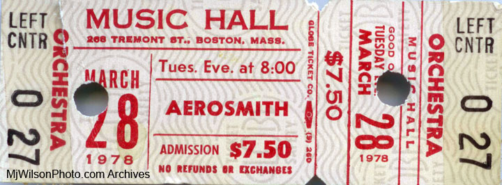 Aerosmith Concert Ticket - Boston Music Hall - March 1978
