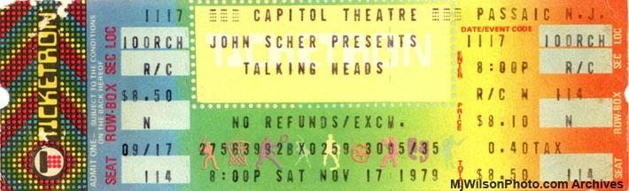 Talking Heads 1979 Concert Ticket