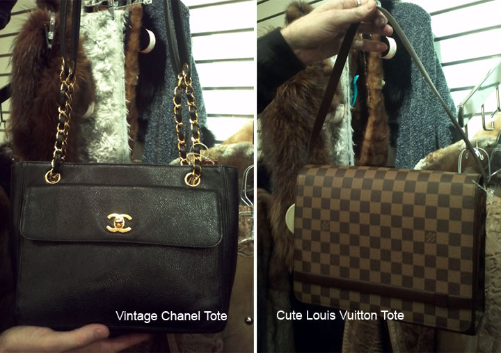 Vintage Chanel Black Caviar Leather Tote and Louis Vuitton Tote