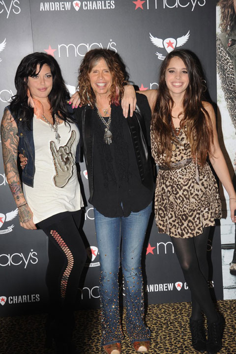 Mia Tyler, Steven Tyler and Chelsea Tyler at Macy's