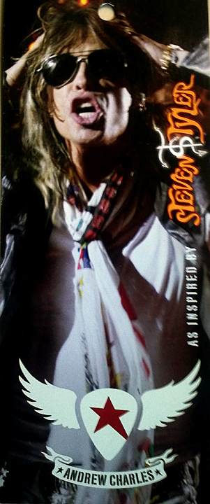 Steven Tyler hangtag for Andrew Charles clothing