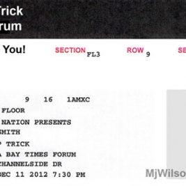 Aerosmith Concert Ticket for Tampa Florida