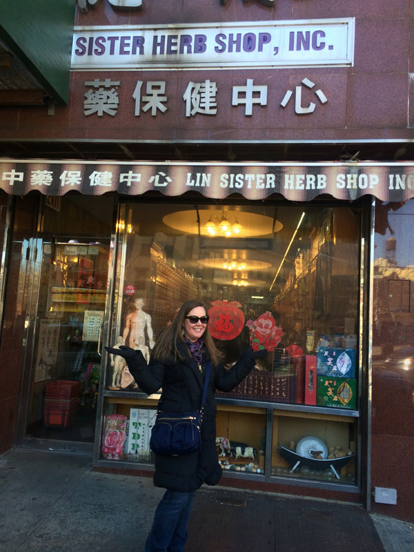 Sandra outside the Lin Sister Herb Shop in Chinatown