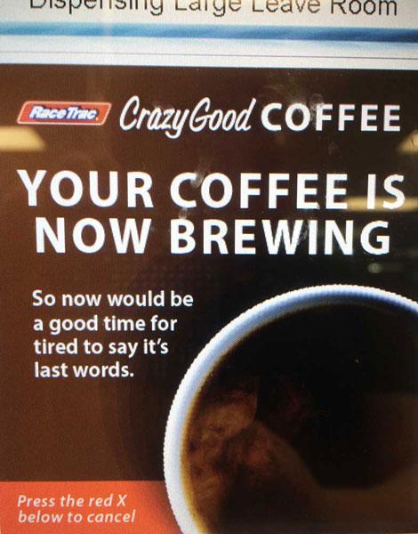 Typo on racetrac coffee machines